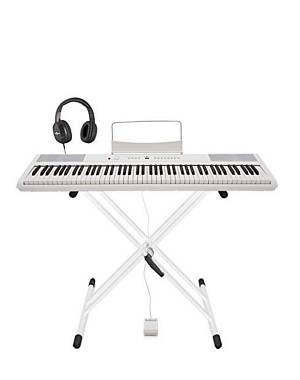 Gear4music SPD-2, pianoforte digitale, 88 tasti pesai con pedale sustain, cuffie