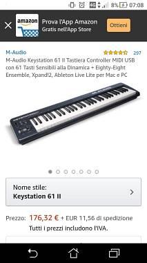Tastiera midi m audio key station 61